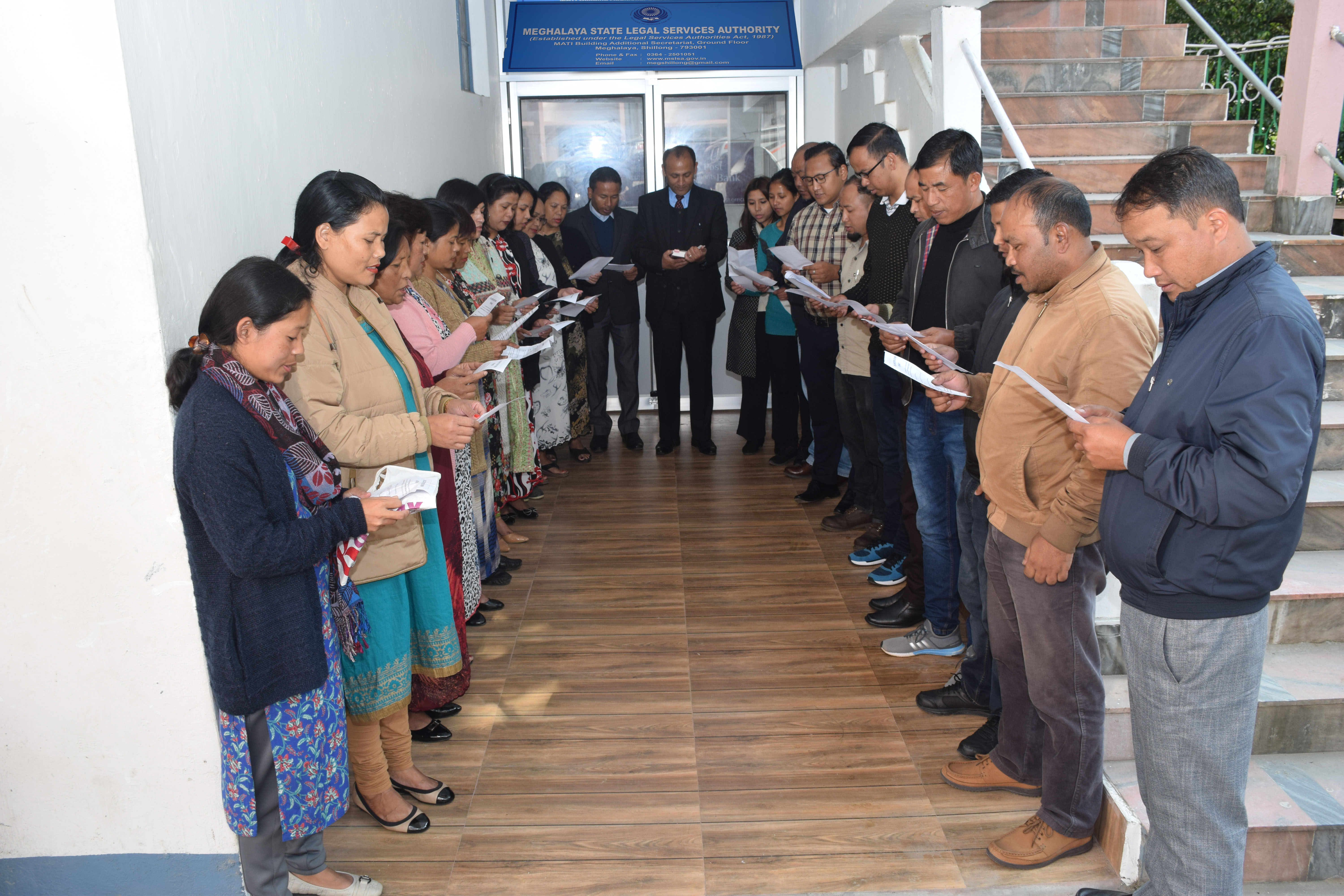 Reciting the Preamble during the Constitution Day on the 26th November, 2019 by MSLSA staff along with the Member Secretary