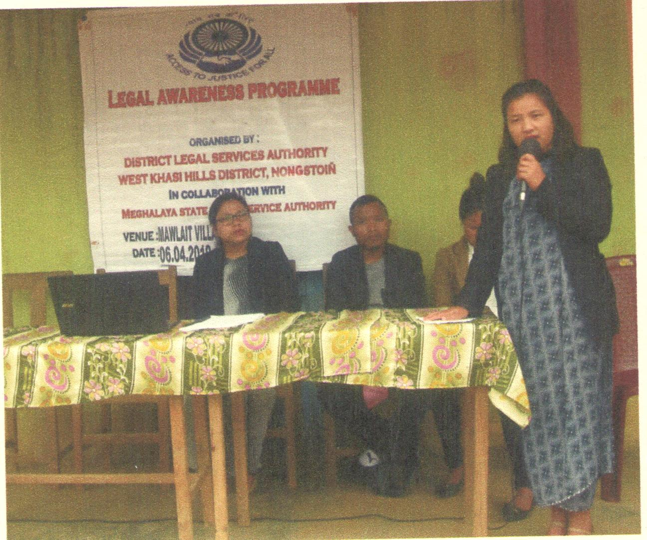 Legal Awareness Programme held at Mawlait village, Nongstoin on the 6-4-2019