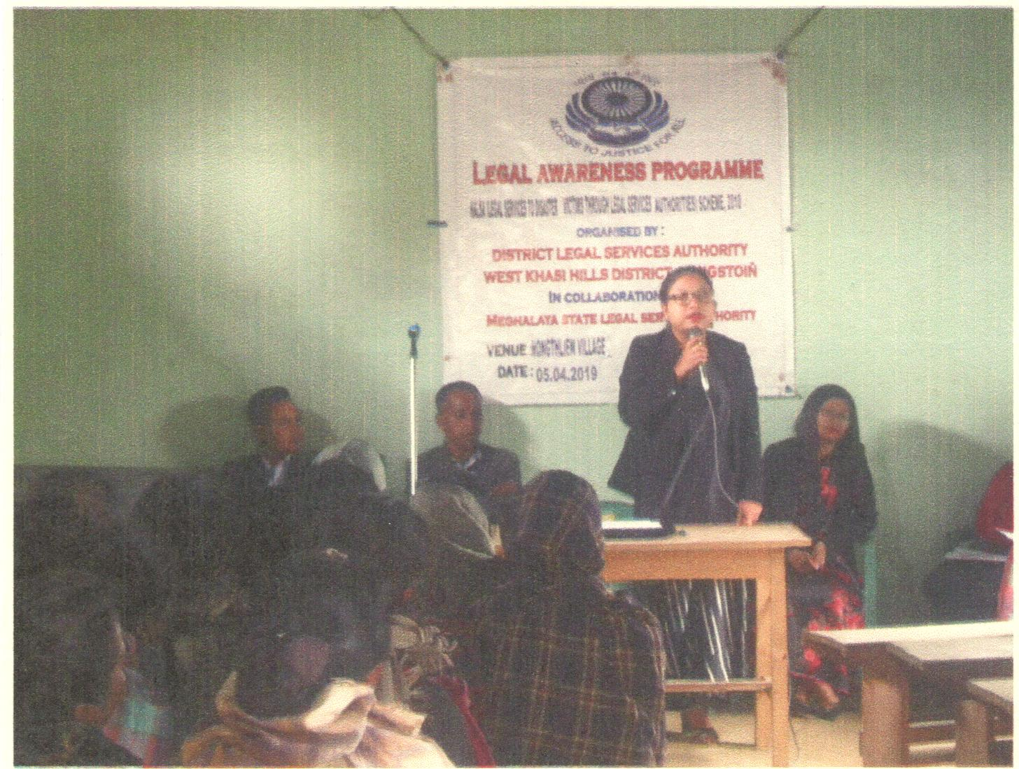 Legal Awareness Programme held at Nongthlien village, Nongstoin on the 5-04-2019