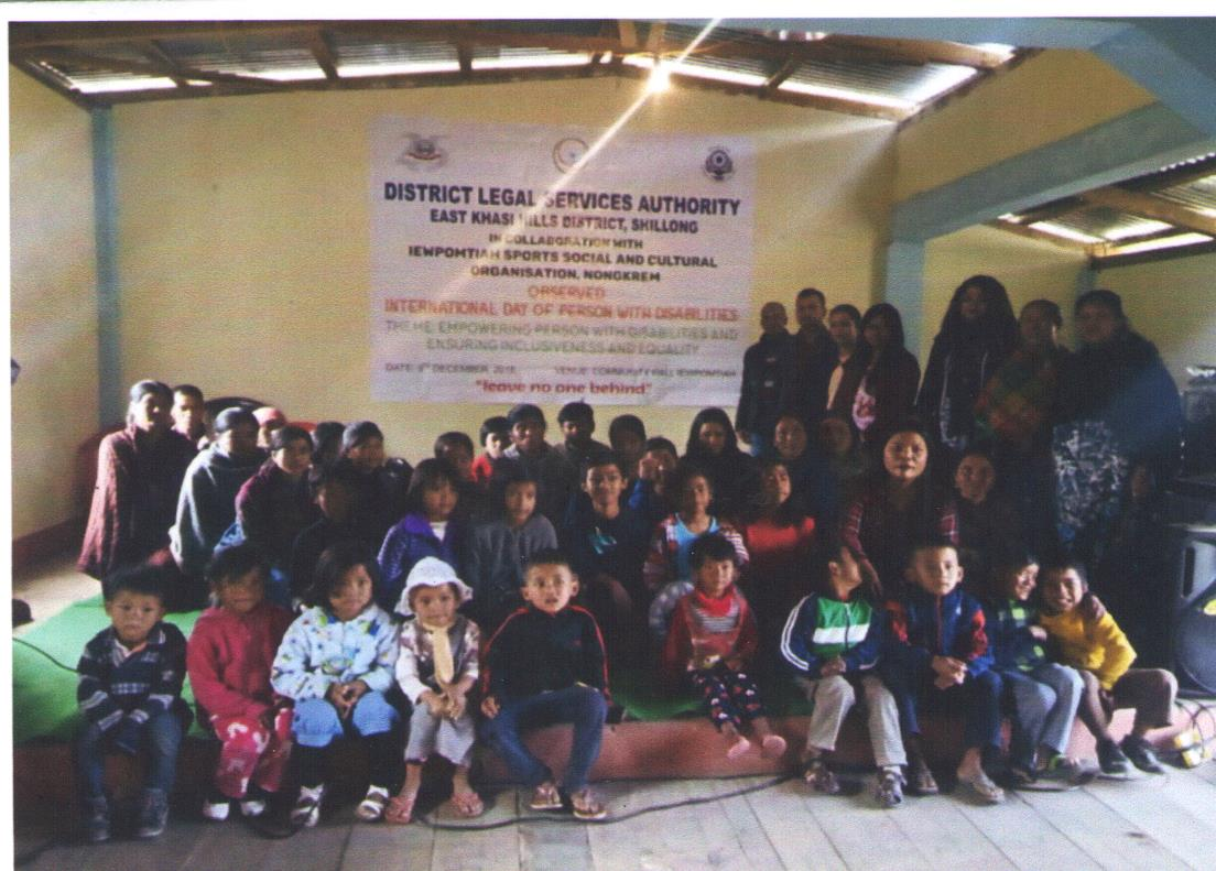 """OBSERVATION  OF """"INTERNATIONAL DAY OF PERSONS WITH DISABILITIES"""" held at Community Hall Iewpomtiah, Nongkrem, East Khasi Hills District on the 3.12.2018"""