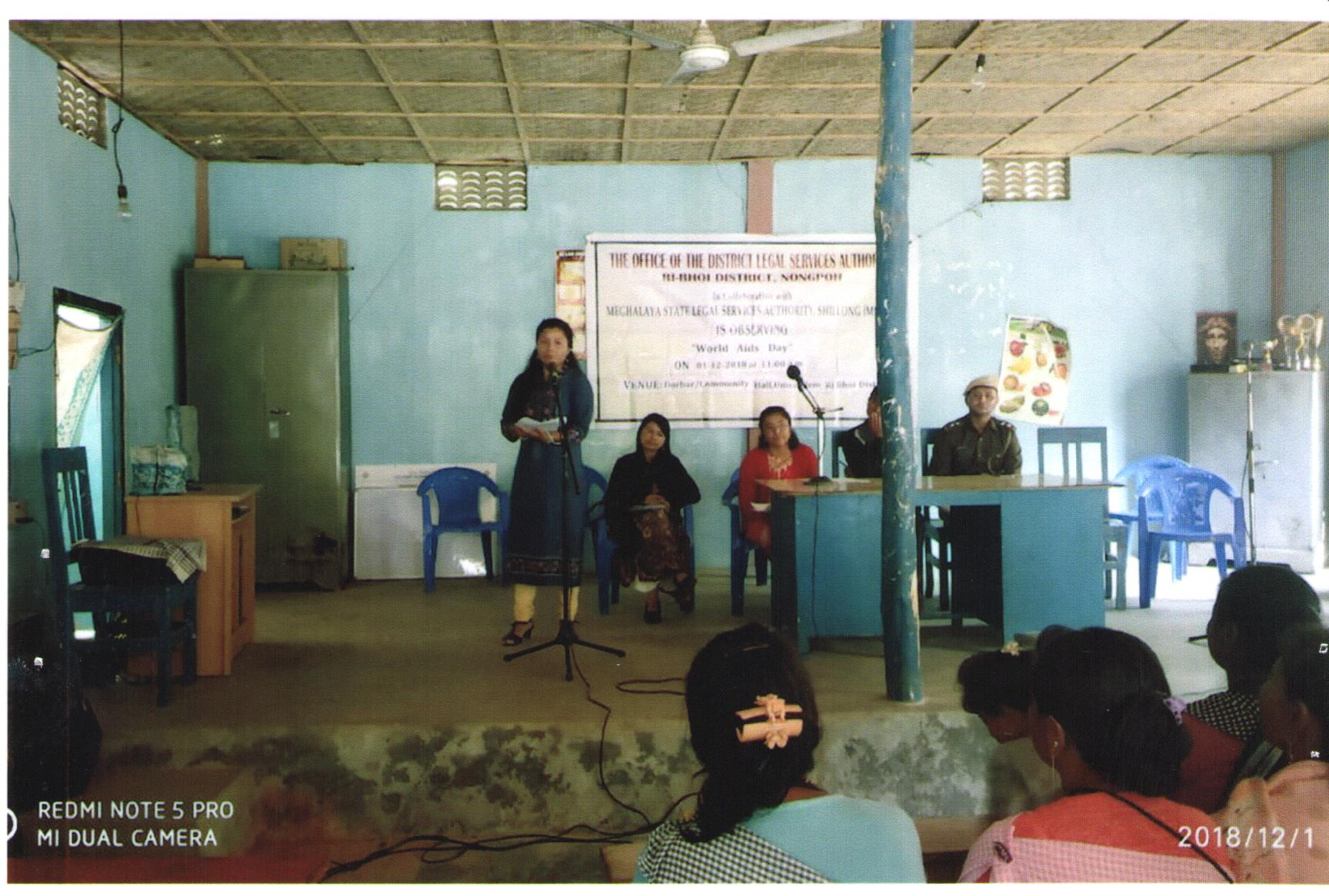 """Observation of """"WORLD AIDS DAY"""" held at Community Hall Umsomlem Ri-Bhoi District on 1.12.2018"""