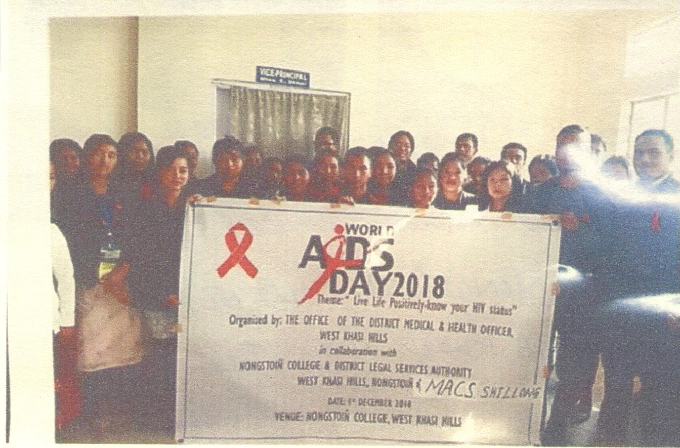 "Observation of ""WORLD AIDS DAY"" held Nongstoin College 1.12.2018 West Khasi Hills District"