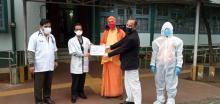 (Picture from L-R) Member Secretary, MSLSA along with Secretary of Ramakrishna Mission, Sohra and Doctors of Civil Hospital, Shillong during the distribution of PPEs on the 22nd April, 2020