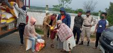MSLSA distribute face masks, Rice and Dal to the villagers at Mawbsein Village, Ri-Bhoi District on the 13th April, 2020