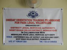 One Day Orientation Training Programme for Para Legal Volunteers organised by DLSA Nongstoin on the 18.2.2020