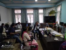 Meeting with DC East Jaintia Hills; SP, East Jaintia Hills along with other dignitaries at the Deputy Commissioner's Office, Khliehriat on the 9th April, 2020